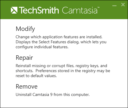 Camtasia Software Already Installed