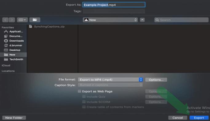 Export in MAC